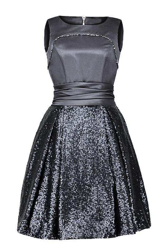 ed06e1076f Szara Rozkloszowana sukienka z błyskiem cekinów - LaKey 189 dostawa w 24h